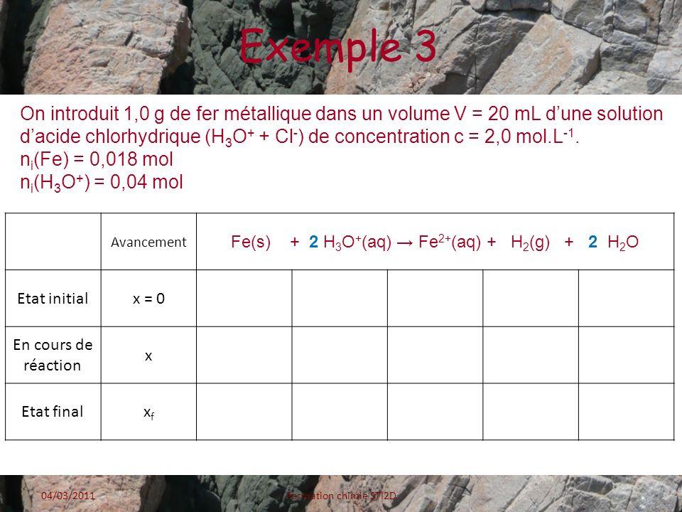 Fe(s) + 2 H3O+(aq) → Fe2+(aq) + H2(g) + 2 H2O