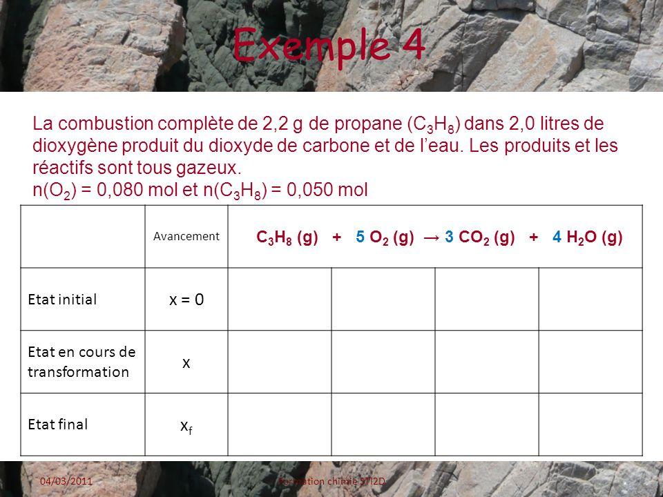 C3H8 (g) + 5 O2 (g) → 3 CO2 (g) + 4 H2O (g)