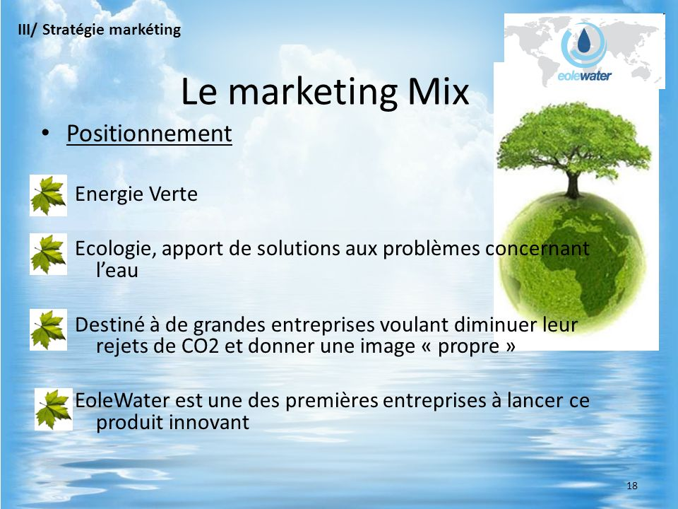 Le marketing Mix Positionnement Energie Verte