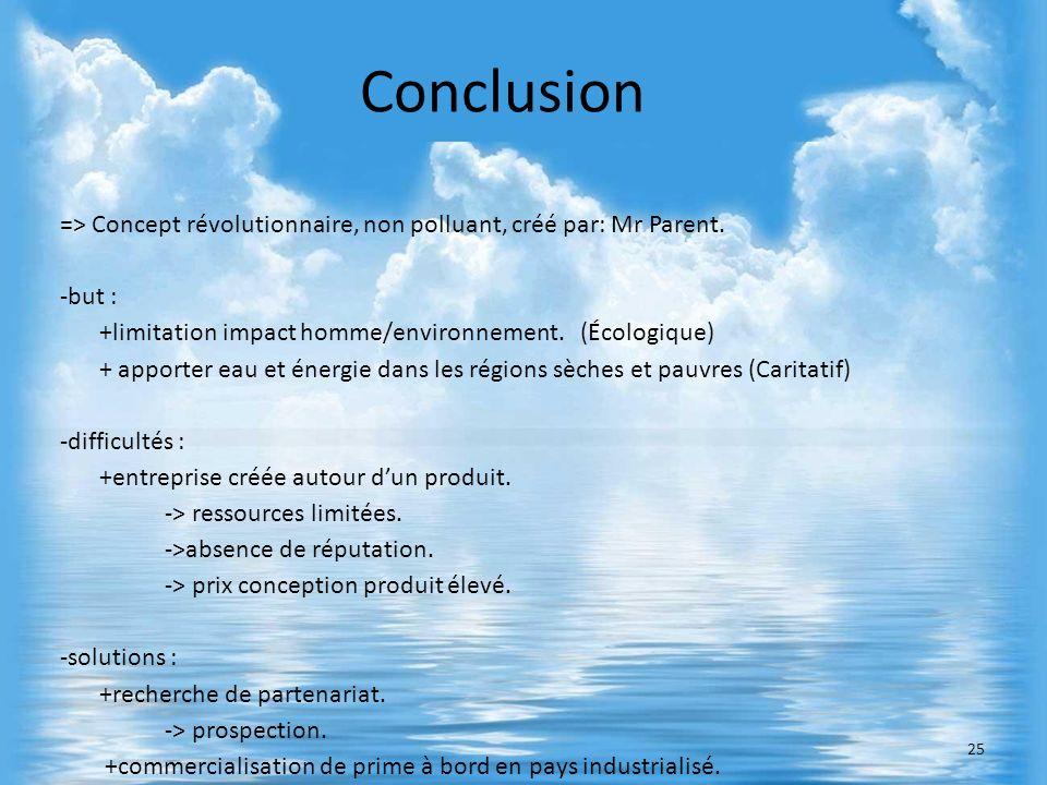 Conclusion=> Concept révolutionnaire, non polluant, créé par: Mr Parent. -but : +limitation impact homme/environnement. (Écologique)