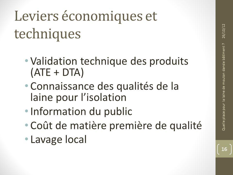 Leviers économiques et techniques