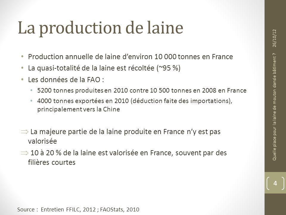 La production de laine 26/10/12. Production annuelle de laine d'environ 10 000 tonnes en France. La quasi-totalité de la laine est récoltée (~95 %)