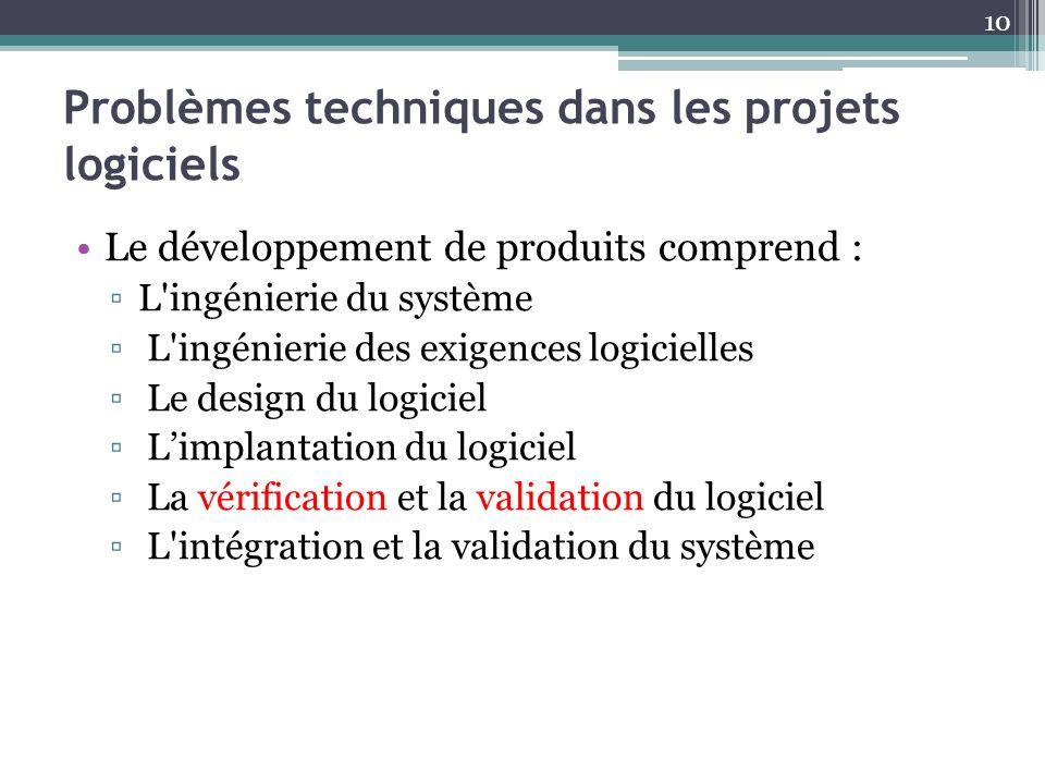 Problèmes techniques dans les projets logiciels