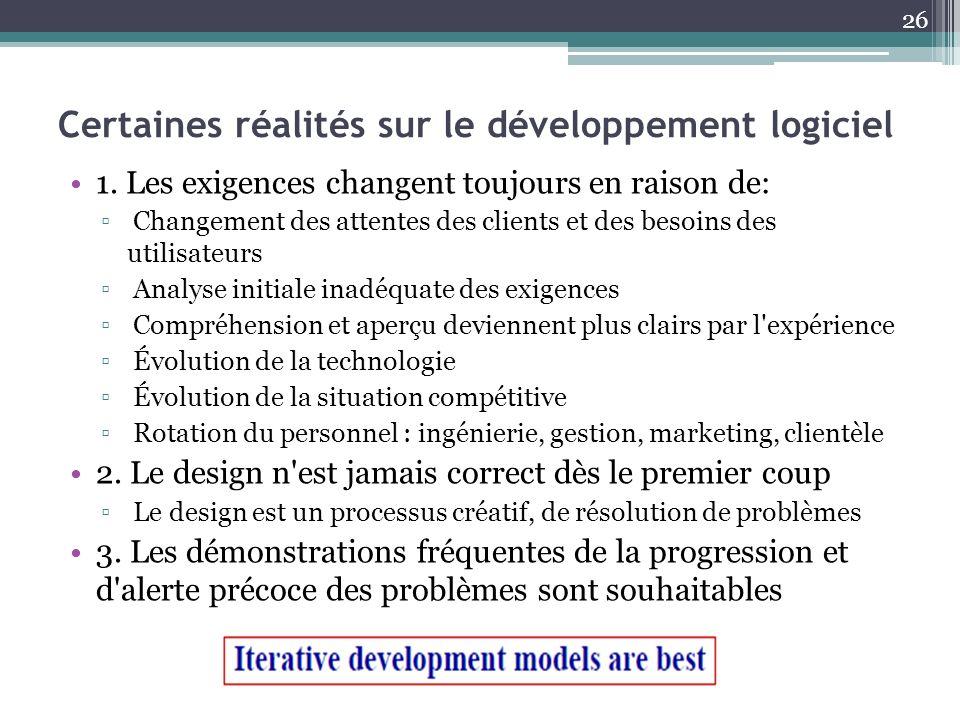 Certaines réalités sur le développement logiciel