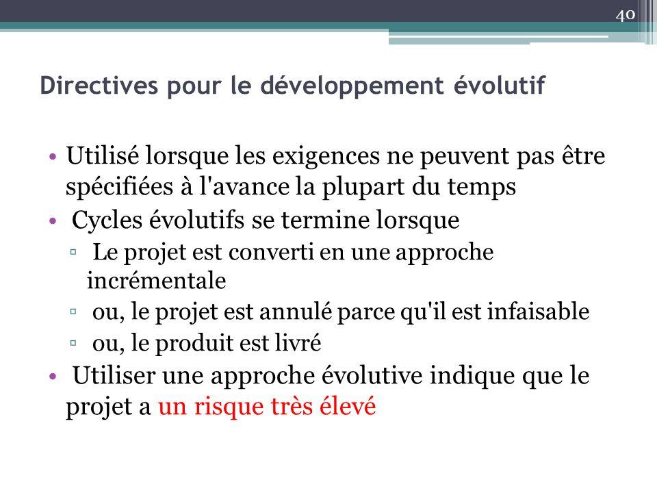 Directives pour le développement évolutif