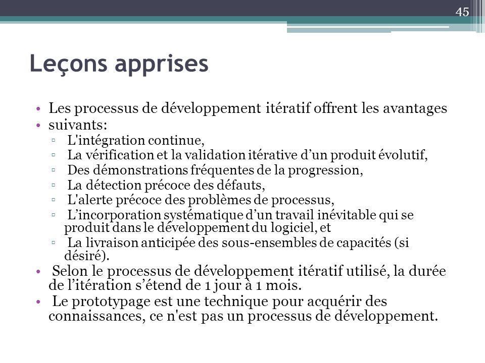 Leçons apprises Les processus de développement itératif offrent les avantages. suivants: L intégration continue,