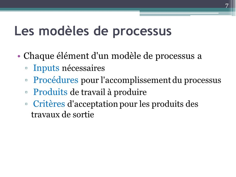Les modèles de processus