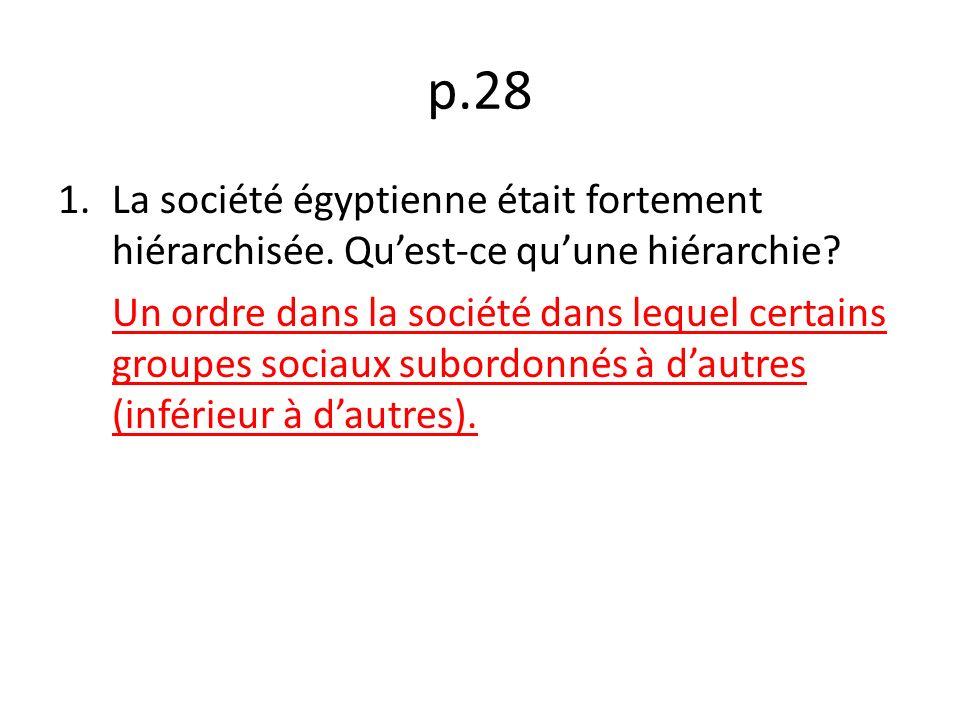 p.28 La société égyptienne était fortement hiérarchisée. Qu'est-ce qu'une hiérarchie