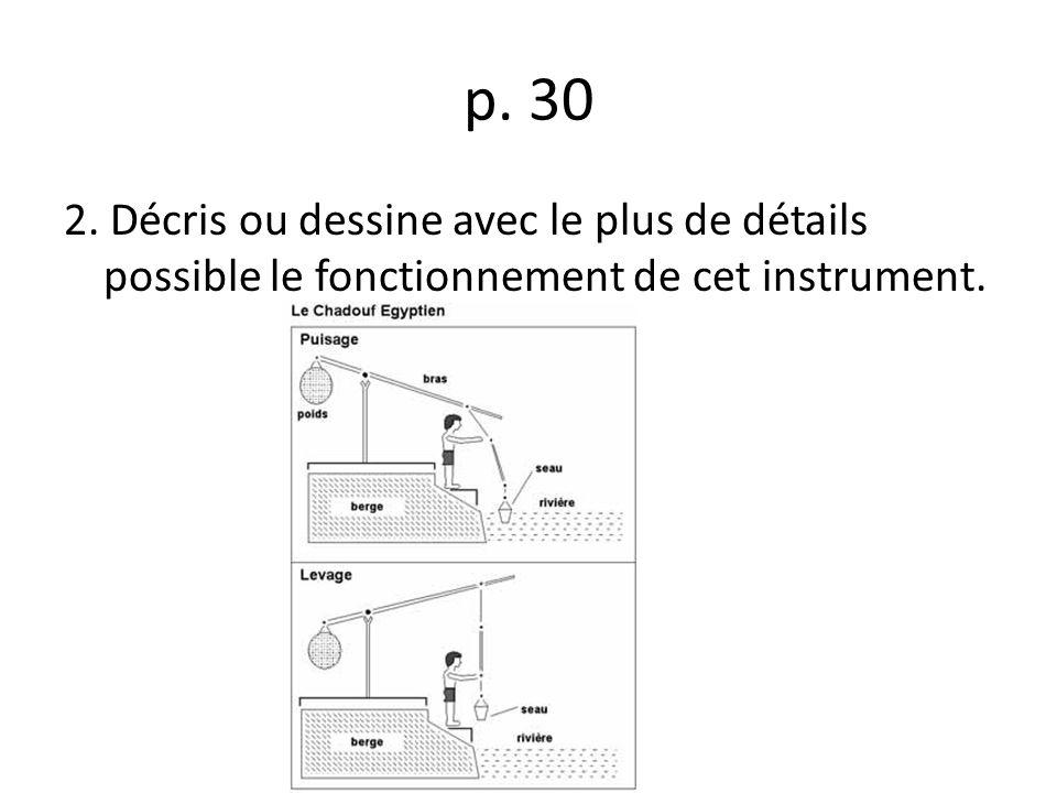 p. 30 2. Décris ou dessine avec le plus de détails possible le fonctionnement de cet instrument.