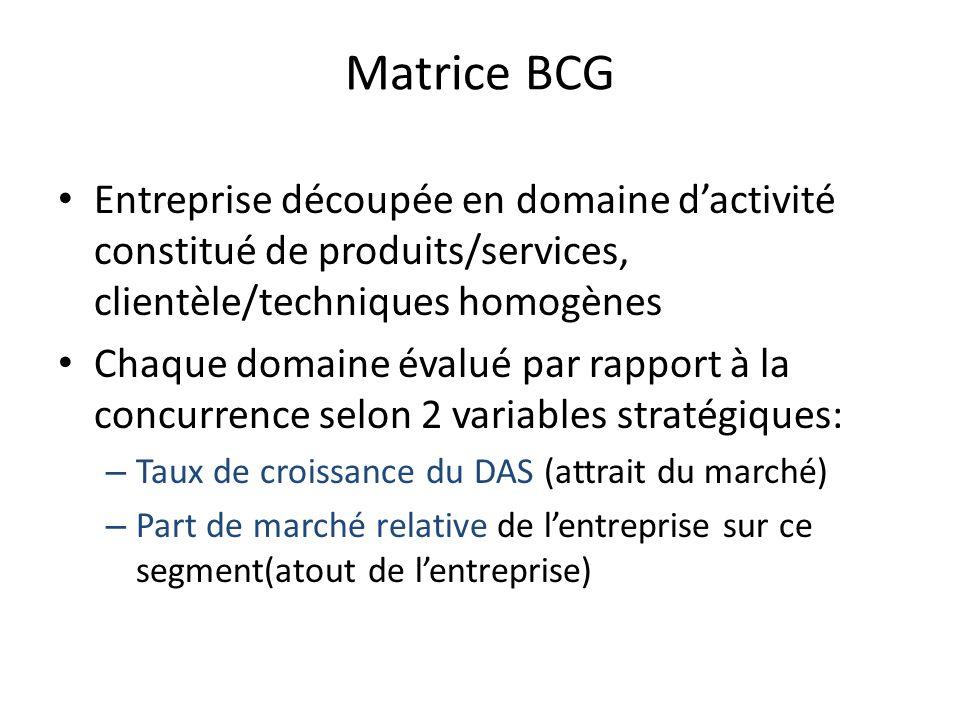 Matrice BCG Entreprise découpée en domaine d'activité constitué de produits/services, clientèle/techniques homogènes.