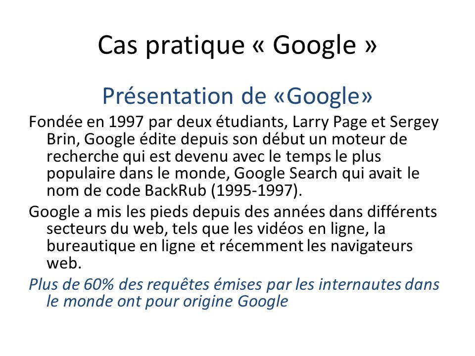 Présentation de «Google»