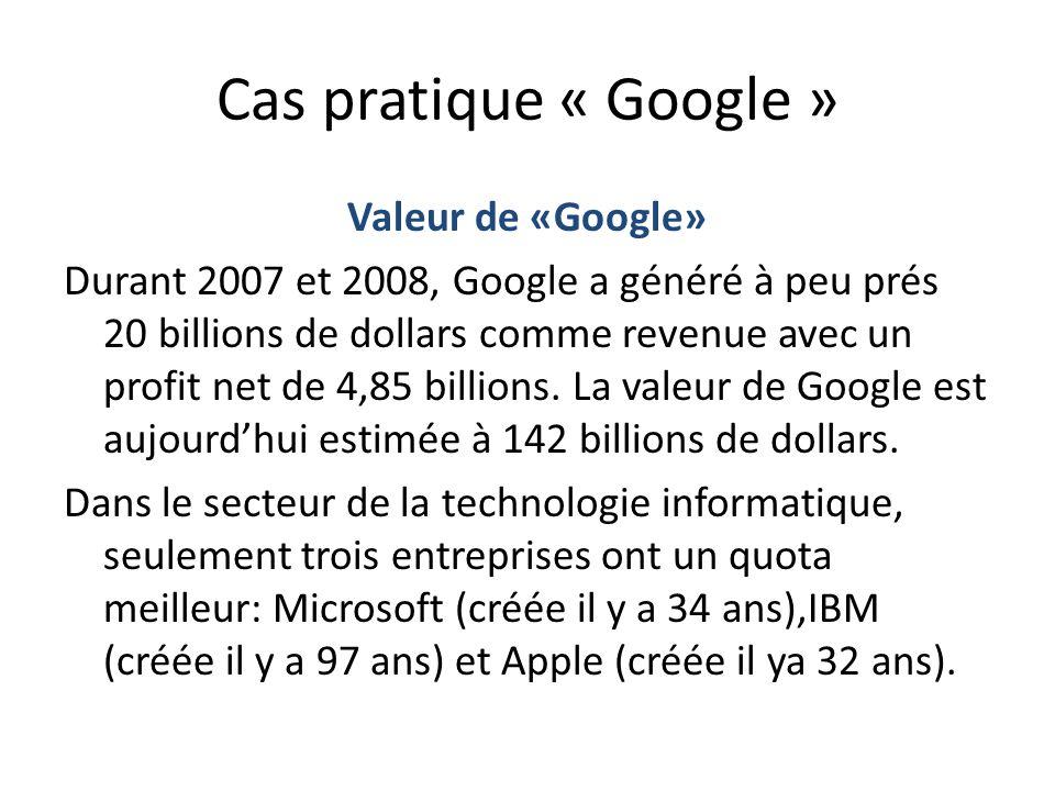 Cas pratique « Google » Valeur de «Google»