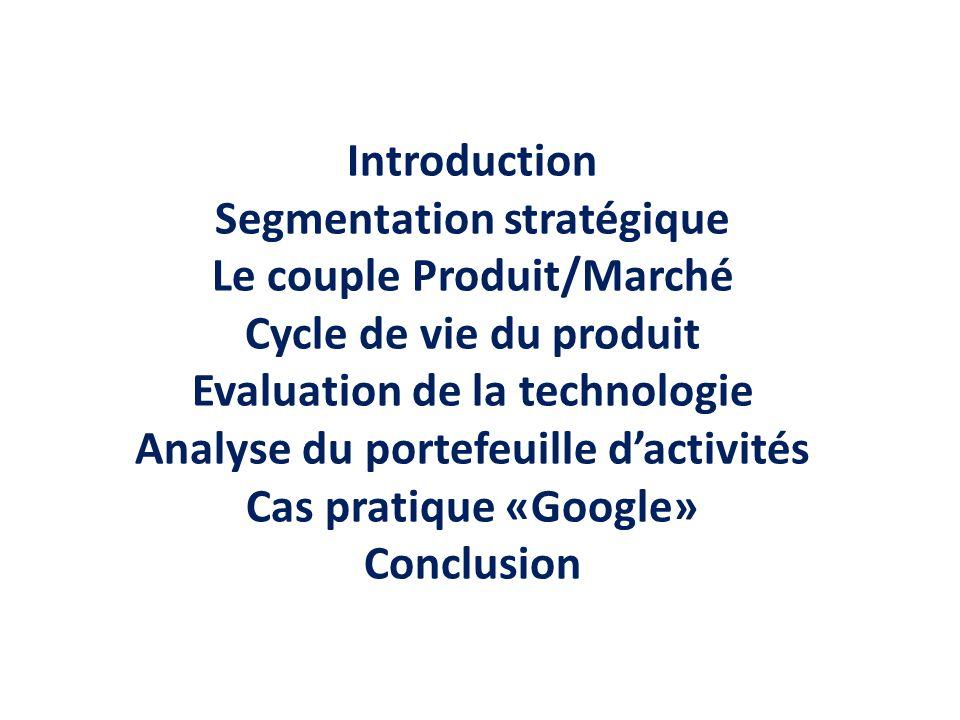 Segmentation stratégique Le couple Produit/Marché