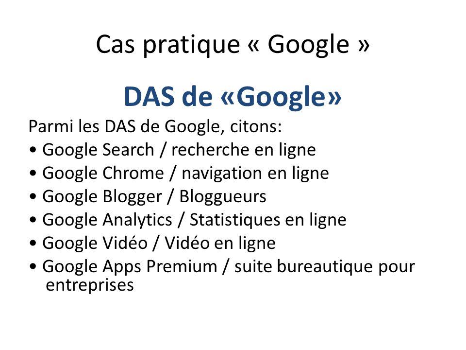 DAS de «Google» Cas pratique « Google »