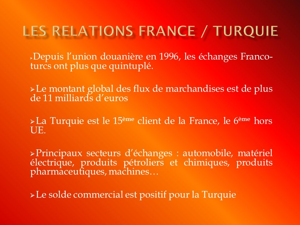Les relations France / TURQUIE