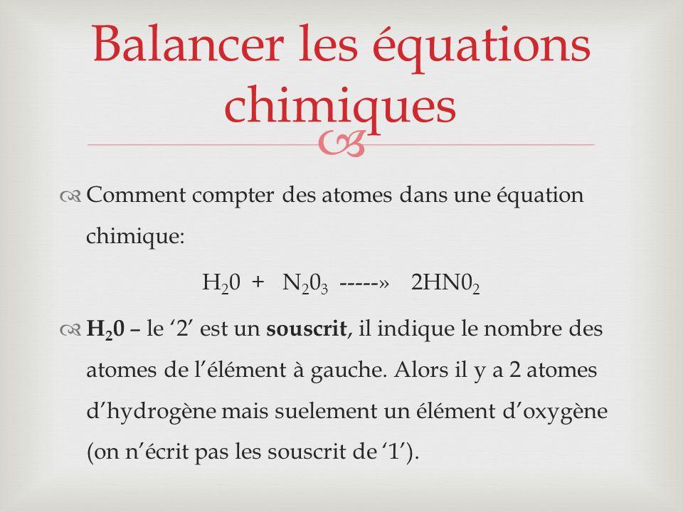Balancer les équations chimiques