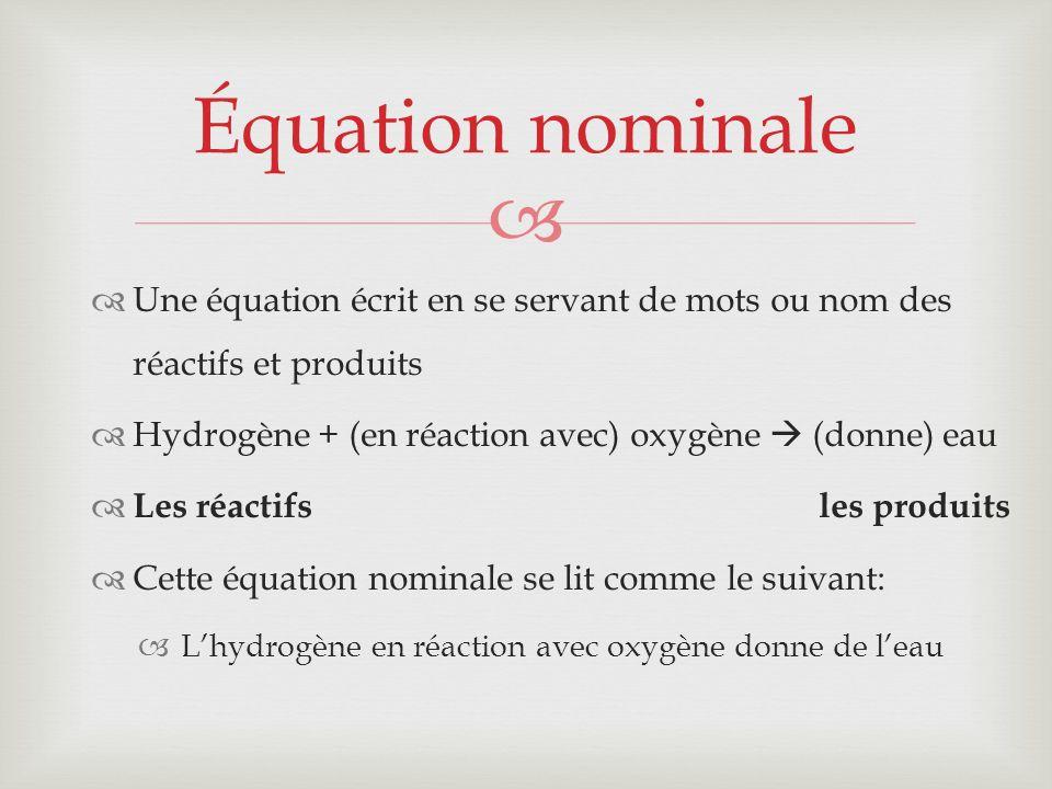 Équation nominale Une équation écrit en se servant de mots ou nom des réactifs et produits. Hydrogène + (en réaction avec) oxygène  (donne) eau.