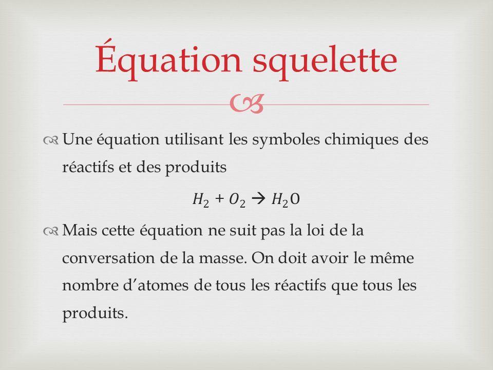 Équation squelette Une équation utilisant les symboles chimiques des réactifs et des produits. 𝐻 2 + 𝑂 2  𝐻 2 O.