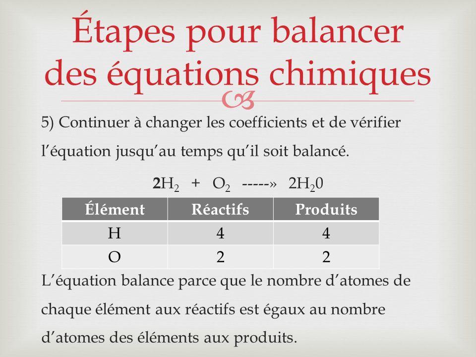 Étapes pour balancer des équations chimiques