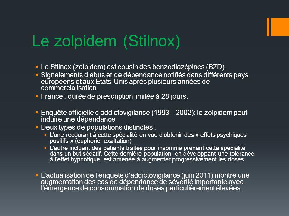 Le zolpidem (Stilnox) Le Stilnox (zolpidem) est cousin des benzodiazépines (BZD).