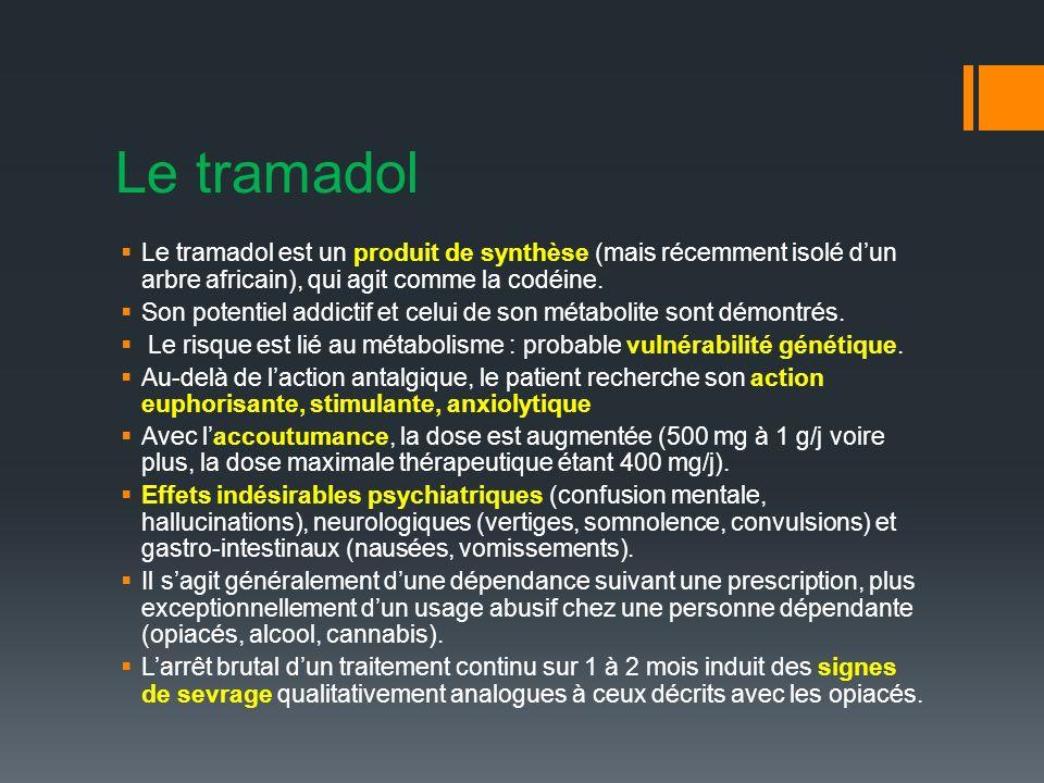 Le tramadol Le tramadol est un produit de synthèse (mais récemment isolé d'un arbre africain), qui agit comme la codéine.