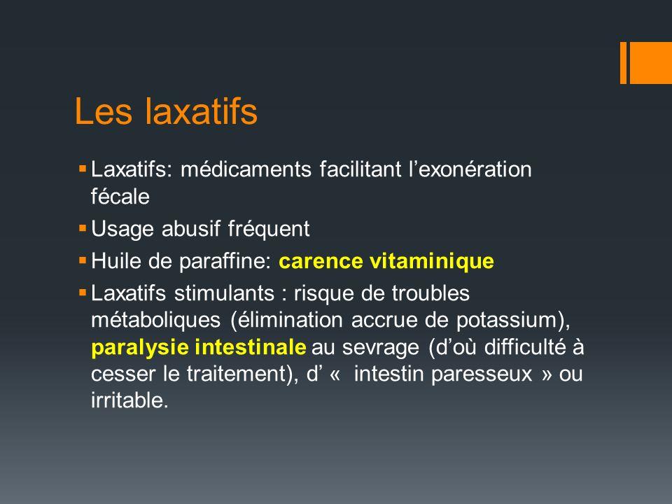 Les laxatifs Laxatifs: médicaments facilitant l'exonération fécale