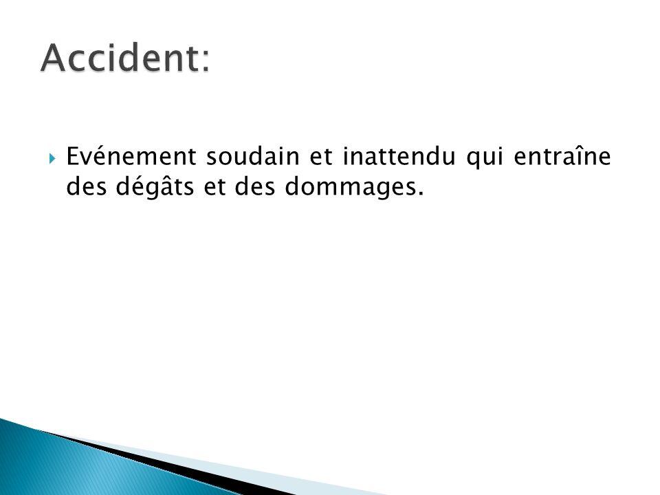 Accident: Evénement soudain et inattendu qui entraîne des dégâts et des dommages.