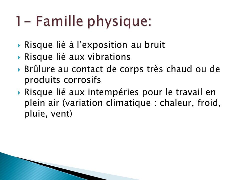 1- Famille physique: Risque lié à l'exposition au bruit