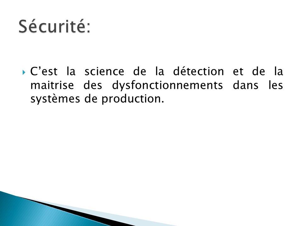 Sécurité: C'est la science de la détection et de la maitrise des dysfonctionnements dans les systèmes de production.