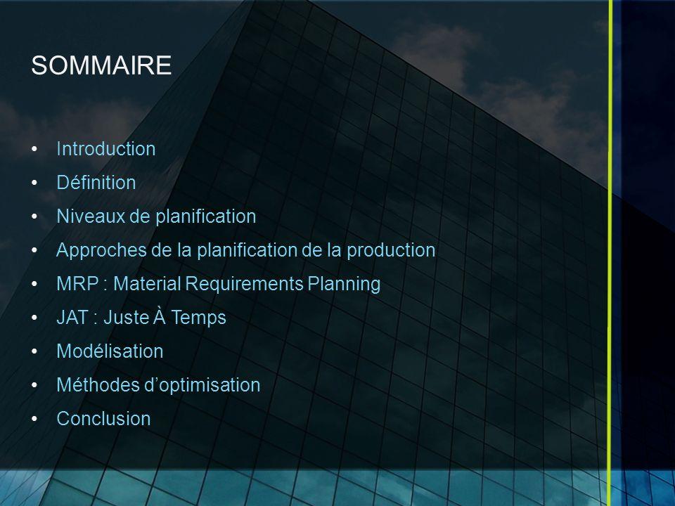 SOMMAIRE Introduction Définition Niveaux de planification