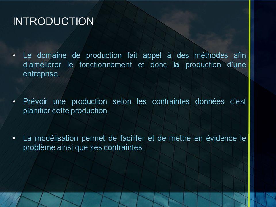 INTRODUCTION Le domaine de production fait appel à des méthodes afin d'améliorer le fonctionnement et donc la production d'une entreprise.