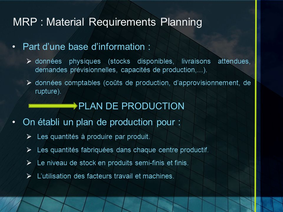 MRP : Material Requirements Planning
