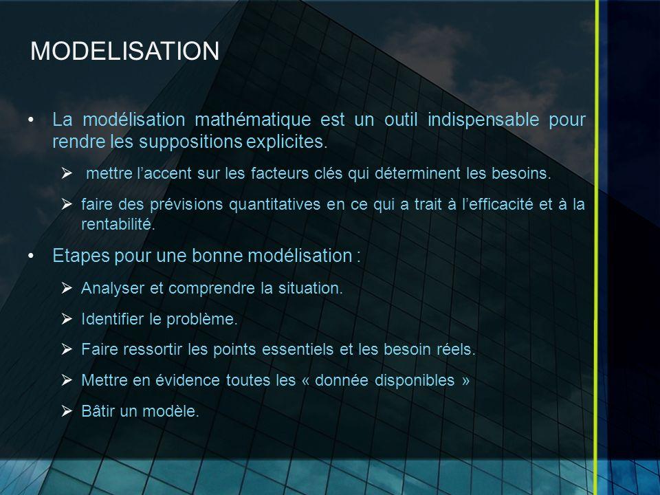 MODELISATION La modélisation mathématique est un outil indispensable pour rendre les suppositions explicites.