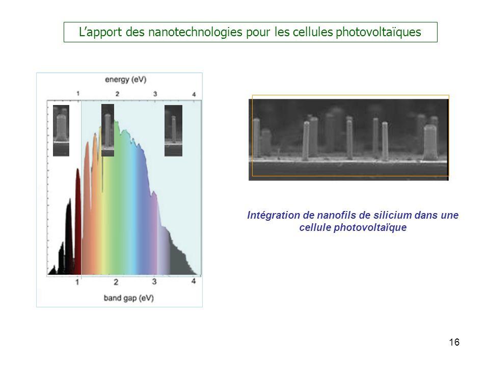 Intégration de nanofils de silicium dans une cellule photovoltaïque