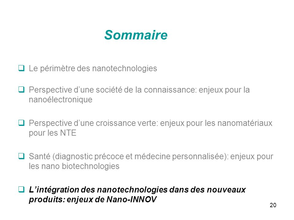 Sommaire Le périmètre des nanotechnologies