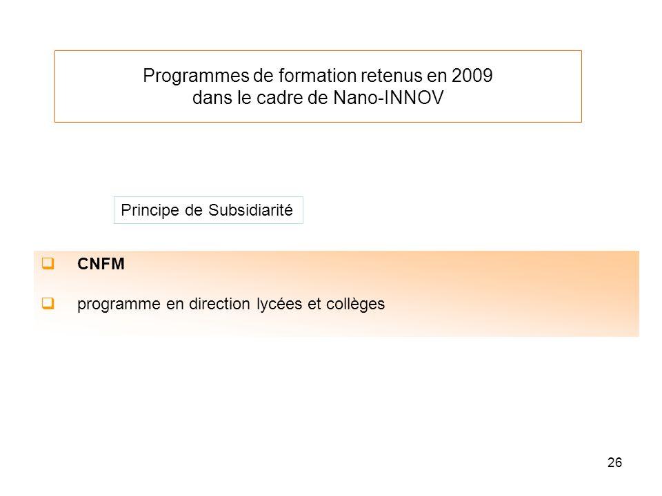 Programmes de formation retenus en 2009 dans le cadre de Nano-INNOV