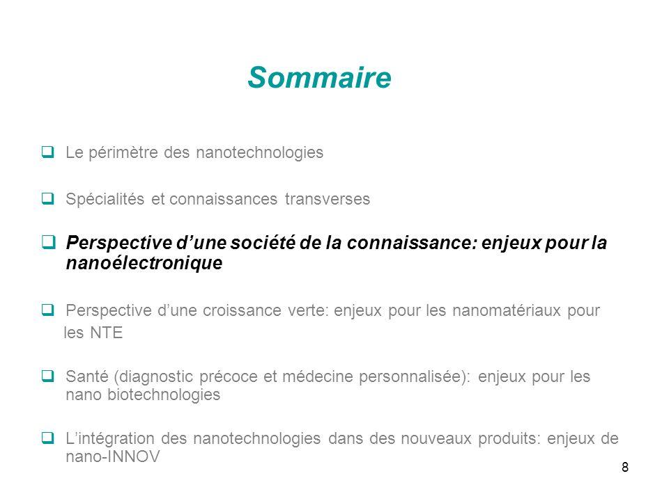 Sommaire Le périmètre des nanotechnologies. Spécialités et connaissances transverses.