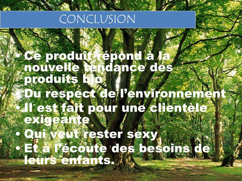 CONCLUSION Ce produit répond à la nouvelle tendance des produits bio. Du respect de l'environnement.