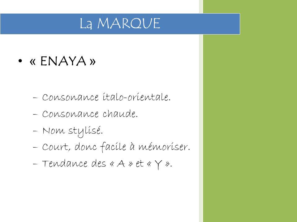 La MARQUE « ENAYA » Consonance italo-orientale. Consonance chaude.