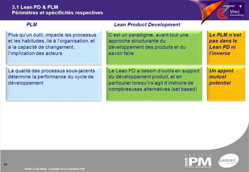 3.1 Lean PD & PLM Périmètres et spécificités respectives