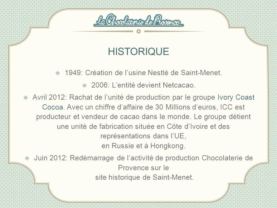 HISTORIQUE 1949: Création de l'usine Nestlé de Saint-Menet.