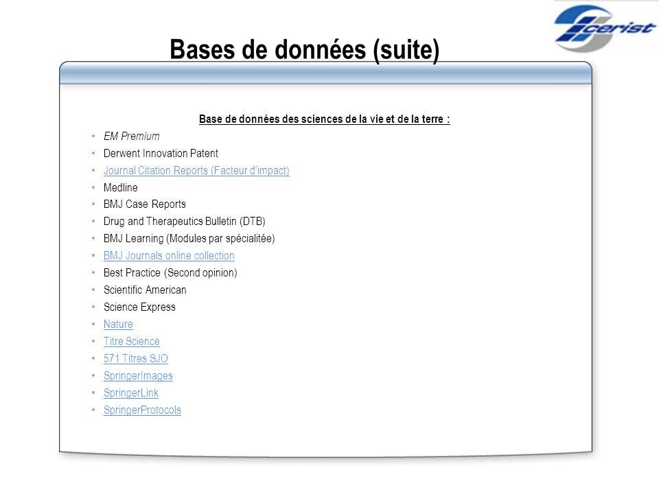 Bases de données (suite)