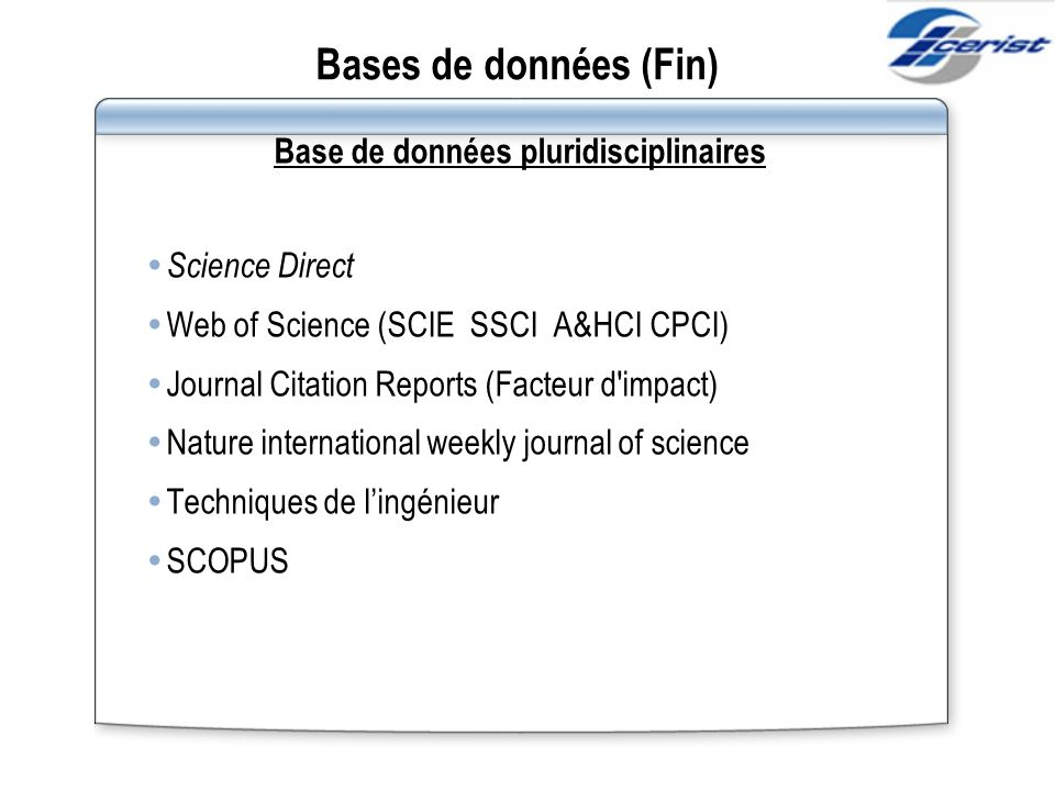 Base de données pluridisciplinaires