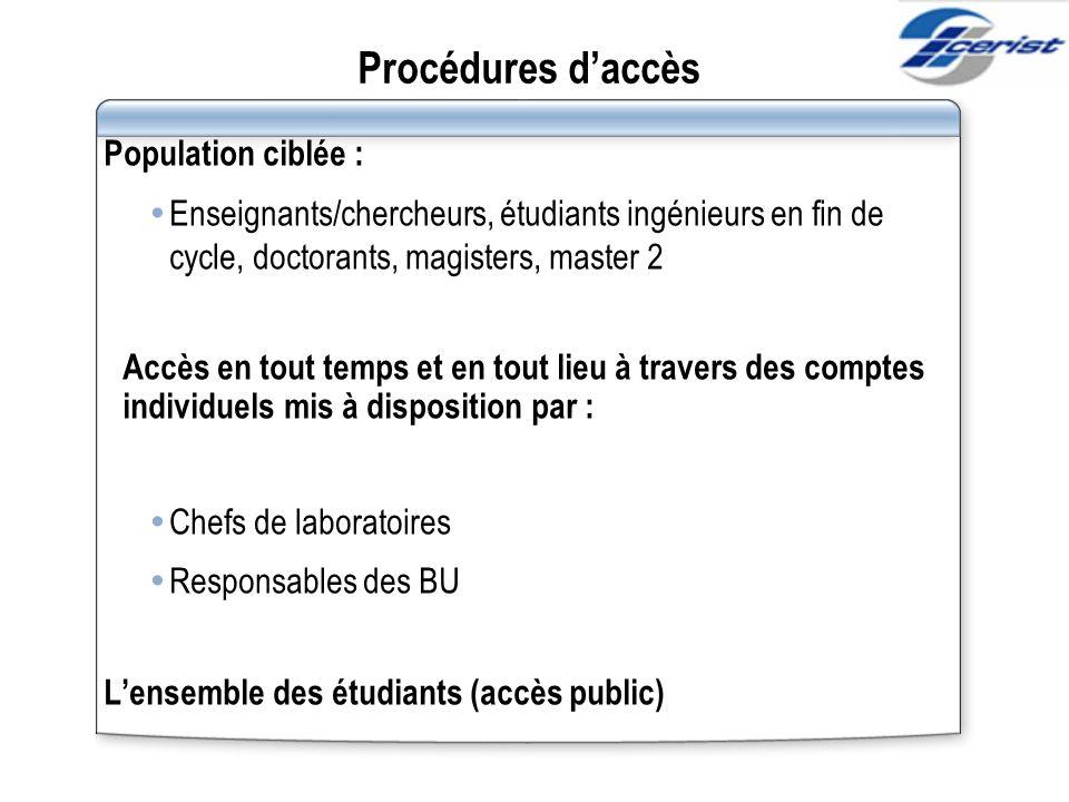 Procédures d'accès Population ciblée :