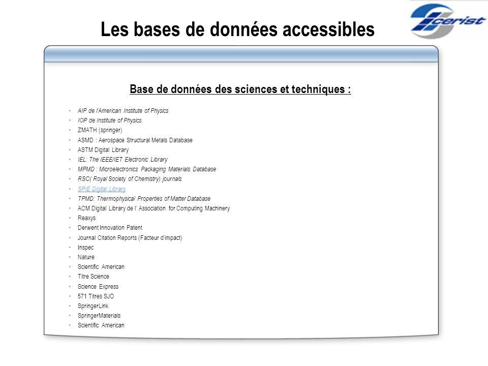 Les bases de données accessibles