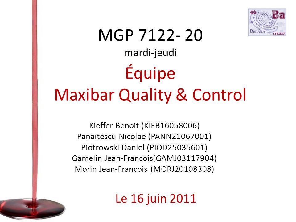 Équipe Maxibar Quality & Control