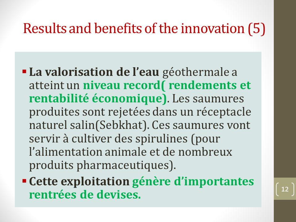 Results and benefits of the innovation (5)
