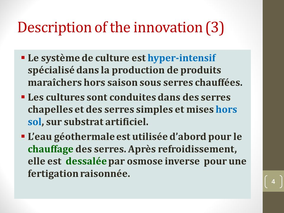 Description of the innovation (3)