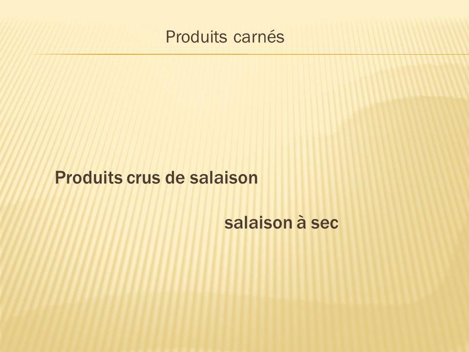 Produits crus de salaison salaison à sec