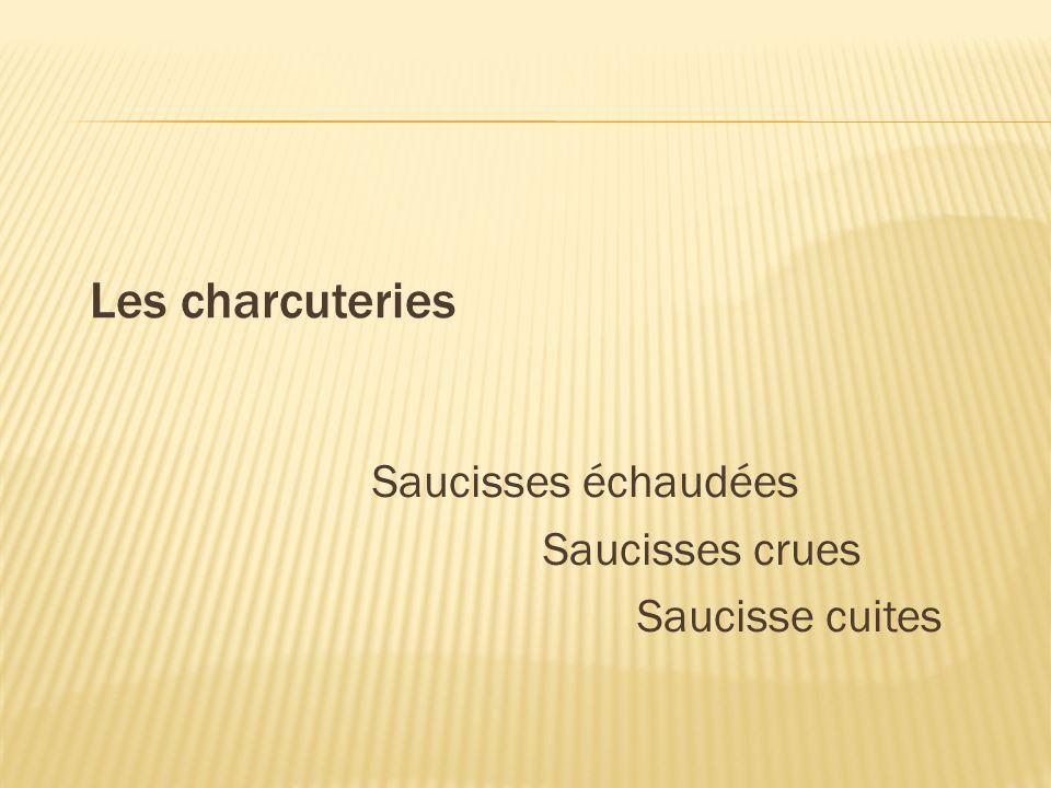 Saucisses échaudées Saucisses crues Saucisse cuites